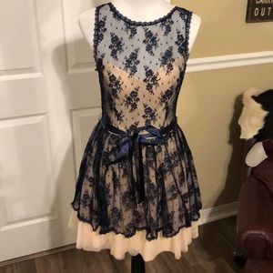 Blue Lace and Cream Tull Dress